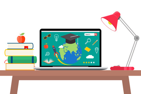 Online education concept. Laptop with opened text document next to stacked books, mortar board student cap, pencils and glasses. Flat style vector illustration isolated on cyan background. Иллюстрация