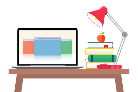 Online education concept. Laptop with opened text document next to stacked books, mortar board student cap, pencils and glasses. Flat style vector illustration isolated on cyan background. Illusztráció