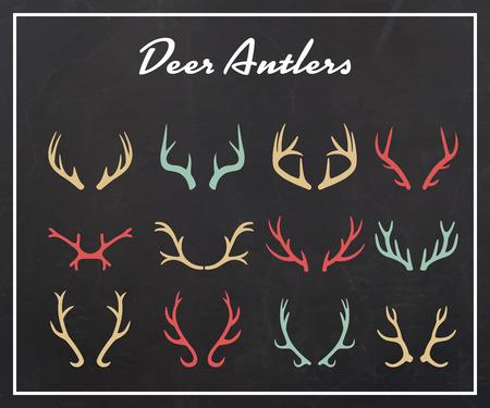 large skull: Vintage silhouettes of different deer horns, vector illustration on texture background Illustration