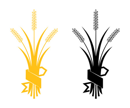 whole grain: Ears of Wheat, Barley or Rye vector visual graphic icons, ideal for bread packaging, beer labels etc.