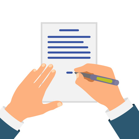 intent: Colored Cartooned Hand Signing Contract Graphic Design on Blue Background. Illustration