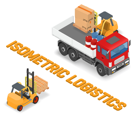 moving crate: Process of loading and unloading the trucks with a forklift - isometric vector illustration Illustration