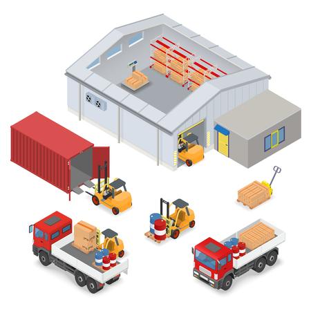 interni isometrica magazzino, all'interno di bilance industriali, scaffalature di stoccaggio. L'area adiacente sono camion, carrelli elevatori, container e l'ufficio - illustrazione vettoriale Vettoriali