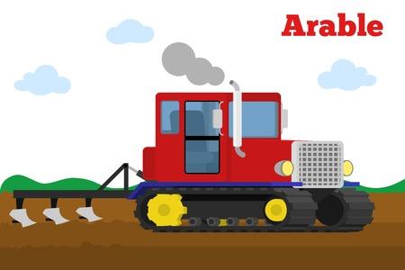 tillage: Ilustración vectorial de un tractor de oruga agrícola con arado de un campo de la labranza. Equipo para la agricultura. etapa de cultivo. Vectores