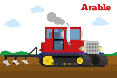 plow: Vector illustration of a agricultural crawler tractor with plow tillage a field. Equipment for agriculture. Arable stage.