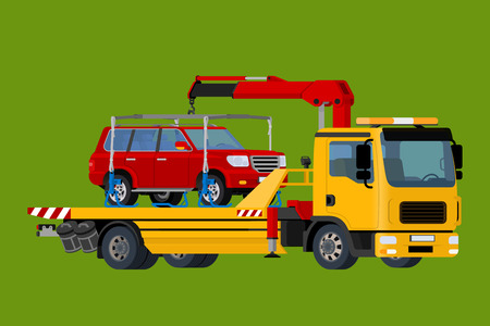 the wrecker: Car towing truck Online, evacuator Online, Online roadside assistance car towing truck, Business and Service Concept, Flat 3d vector isometric illustration. Illustration