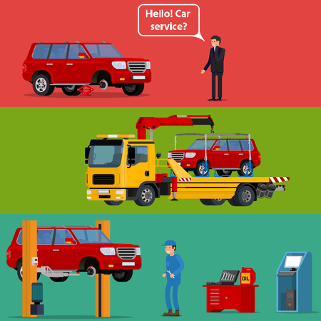 car lift: Cool vector trendy flat design worried driver calling roadside assistance to help with his breakdown car. Tow truck transporting a broken machine to the car service. Broken car in auto repair shop being fixed on car lift with mechanic professional holding