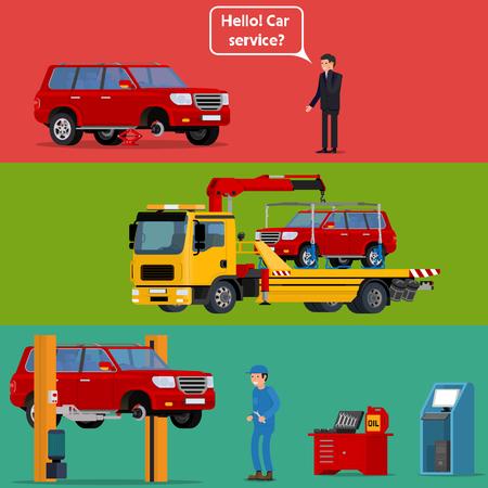 Cool vector trendy platte ontwerp bezorgd driver roepen hulp bij pech onderweg om te helpen met zijn afbraak auto. Takelwagen transporteren van een kapotte machine om de auto service. Kapotte auto in auto reparatiewerkplaats wordt vastgesteld op autolift met mechanische professioneel bedrijf