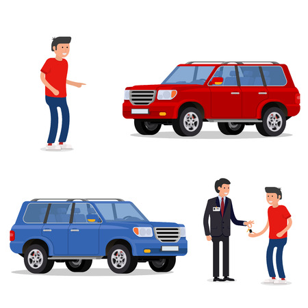 design concept of choice car, buying, sale, rent and hire cars . Vector, cool flat, illustration. Vector detailed character buyer and seller