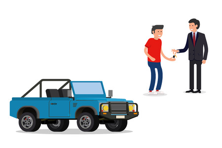 owner money: design concept of choice car, buying, sale, rent and hire cars . Vector, cool flat, illustration. Vector detailed character buyer and seller