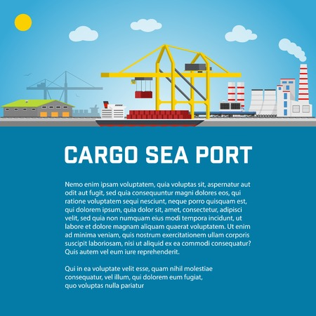 container port: Sea Port, Unloading of Cargo Containers from the Container Carrier, Cranes in Port Load Containers on the Container Ship or Unload, Poster Brochure Flyer Design, Vector Illustration
