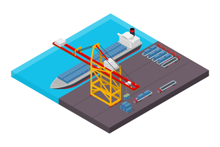 lifting globe: Aerial view of harbor waterfront and maritime terminal with container ship loading isometric poster abstract vector illustration