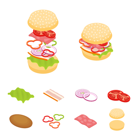 cucumber salad: Set vector constructor isometric sandwich and hamburger ingredients: ham, cheese, egg, onion, tomato, cucumber, mushrooms, radishes, salad, cutlet, potato and pepper Illustration