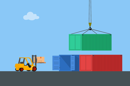 unloading: Concept marine cargo port. Unloading of sea cargo containers by a forklift. Closed containers and one outdoor. Vector illustration.