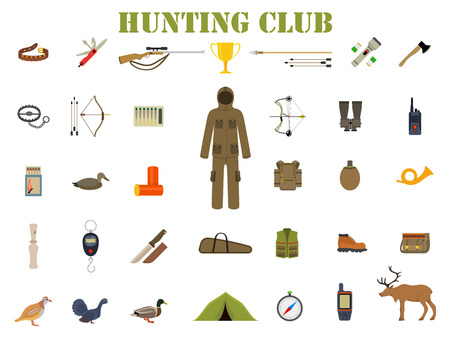 wildlife shooting: Hunting equipment kit hunting rifle, hunting knife, hunting hat, hunting suit, hunting shotgun, hunting boots, hunting decoy, hunting patronage, hunting matches, a hunting trap. Vector illustration