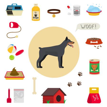 kennel: Dog care object set, items and stuff, vector cartoon illustration, food stuff bone kennel collar clothing medicines