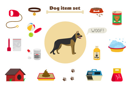 kennel: Dog items set care object and stuff. Elements around the dog. Vector cartoon illustration with food, care stuff, kennel, collar, transportation and dog walking