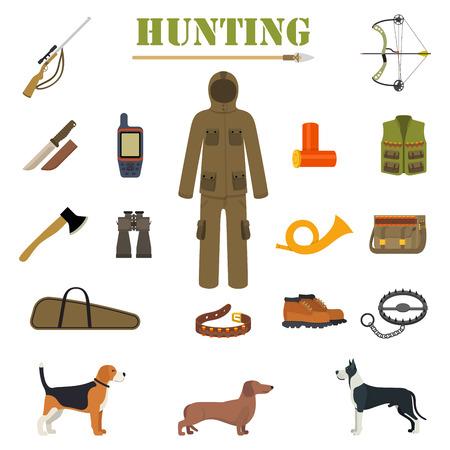 wildlife shooting: Hunting equipment kit with rifle, knife, suit, shotgun, boots, patronage etc. Hunting Dogs. Vector illustration Illustration