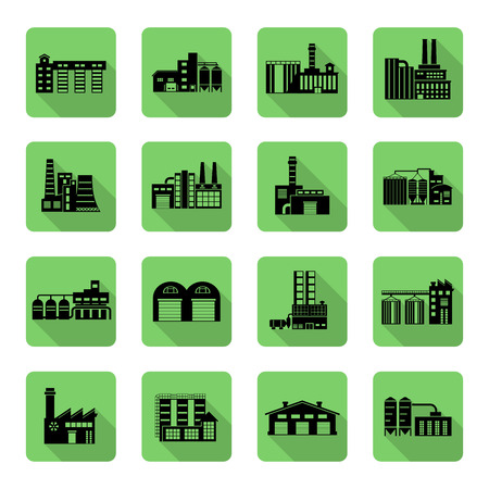 distributing: Flat Icon set of distribution warehouse and factories. Silhouette Factory distribution warehouse icon illustrations. Manufacturer production facility distributing goods.