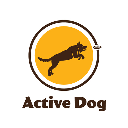 Active dog logotype. Dog silhouette isolated on white background. Dog sport illustration. Agility dog for your design.