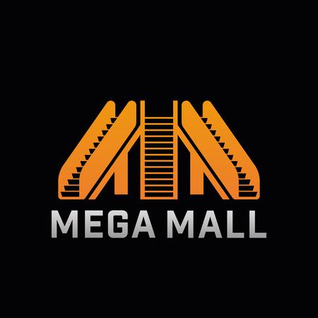 Logo of Mega Mall shop. Template logo of offline shop company with escalator. Vector symbol.