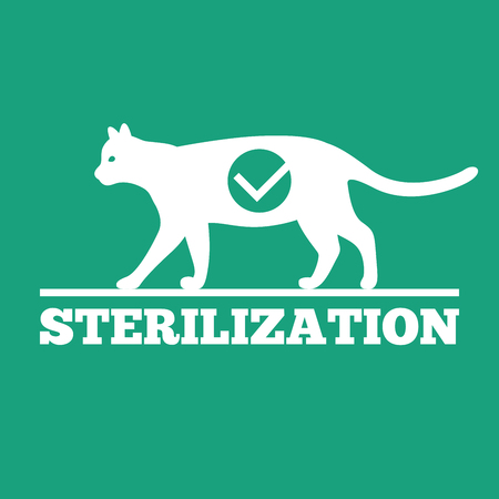 sterilization: Vector logo of castration and sterilization of cats