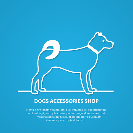 Vector outline dog silhouette on white background. Dog accessories shop logo. Illustration