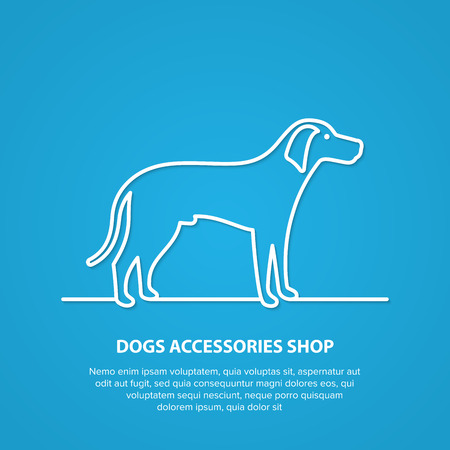 Vector outline dog silhouette on white background. Dog accessories shop logo. Stock Photo