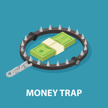 Money trap. Isometric vector illustration Çizim