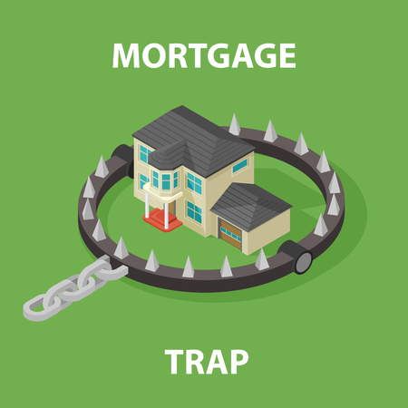 bear trap: Isometric Mortgage House In Bear Trap. Illustration