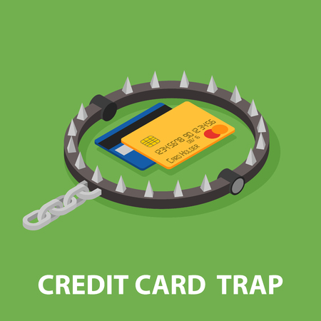entrapment: The trap of credit card with their high interest rates. Isometric illustration.