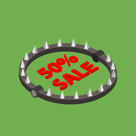 Wild discounts! Threat discount! Bear trap with red word SALE. Isometric illustration Illustration