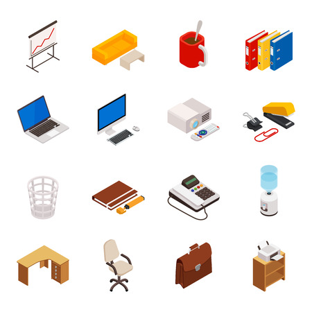 Big set of 3D isometric volumetric of icons on a theme of office equipment. Illustration