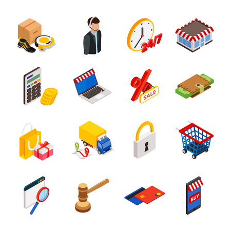 easy money: Electronic commerce isometric icon set with gadgets for buying on internet and shopping symbols vector isolated illustration
