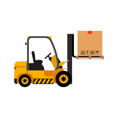 Vector forklift truck with lifted cardboard box Stock Photo