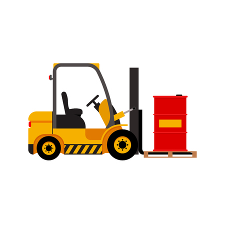 fork lifts trucks: Vector forklift truck with lifted red barrel