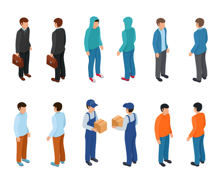 Trendy isometric young creative people with businessman, freelancers, delivery courier and ordinary people. Vector illustration. Illustration