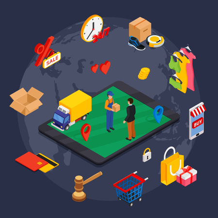 Online shopping isometric concept with related elements