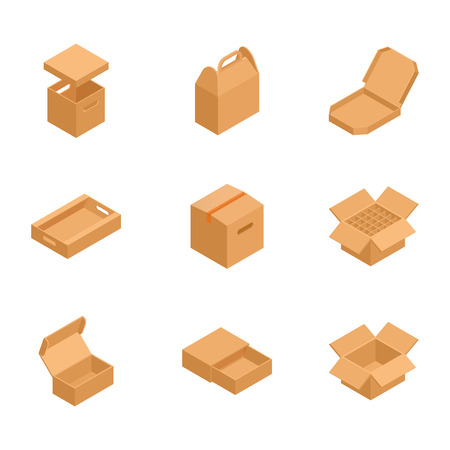 Set of isometric cardboard boxes to sent mail