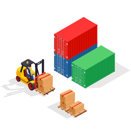 Unloading of sea cargo containers by a forklift.