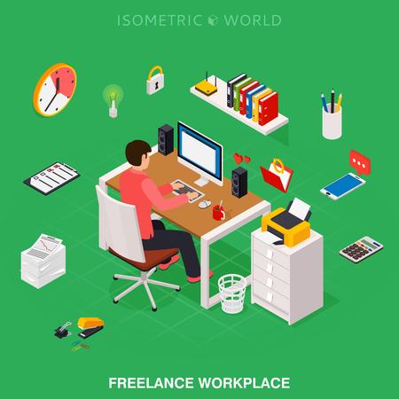 Professional freelancer working on desktop computer at desk. Flat 3d isometric technology concept.