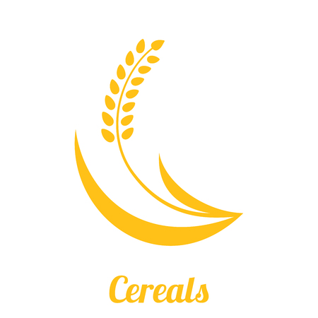 Wheat spike yellow isolated on white background. Grain plant silhouette. Spica icon. Ear organic. Vector illustration flat design. Cereals natural. Maybe as a logo.