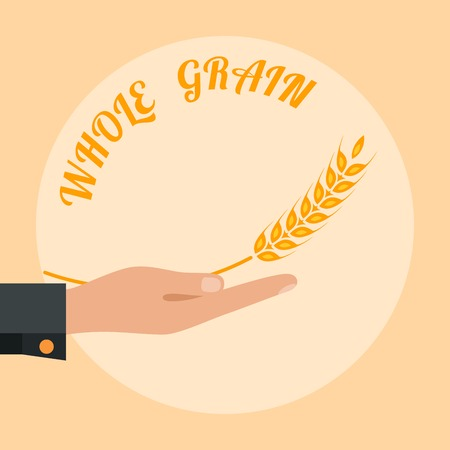 Open palm with wheat. Whole grain logo design. Vector illustration.