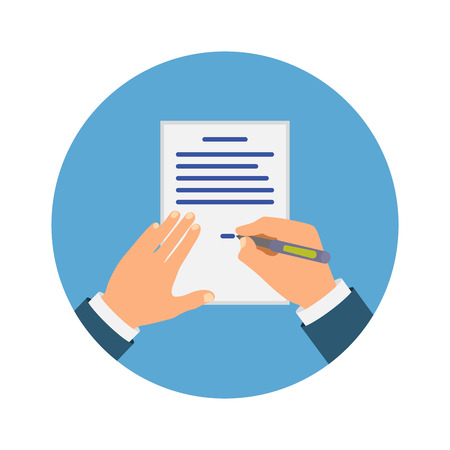 Colored Cartooned Hand Signing Contract Illustration
