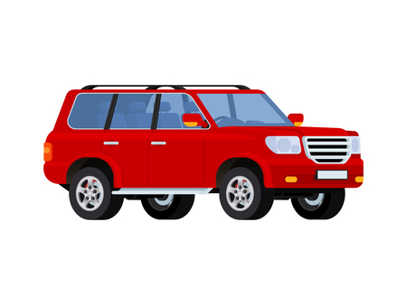 tire tracks: Red realistic powerful SUV car