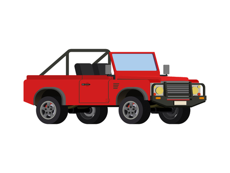 Red realistic powerful SUV car