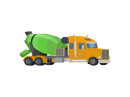 yellow car: Concrete mixing truck Illustration