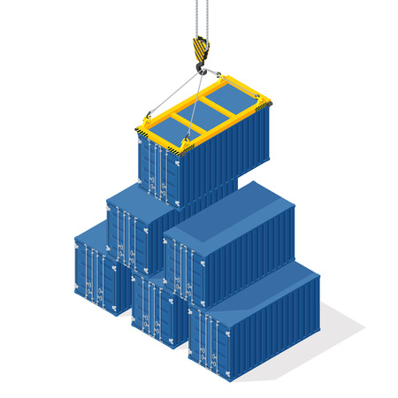 docks: Pyramid of sea containers. The top container lowered the crane - isometric illustration with shadows