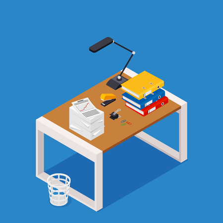 Busy cluttered office table. Hard work. Office interior with books, folders, papers and letters on table. Isometric vector illustration.