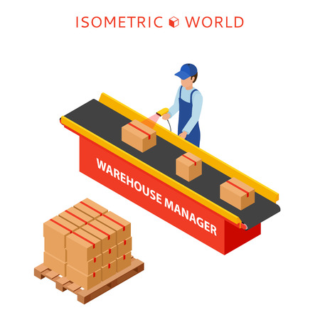 Warehouse manager or warehouse worker with bar code scanner checking goods on a conveyor belt  イラスト・ベクター素材